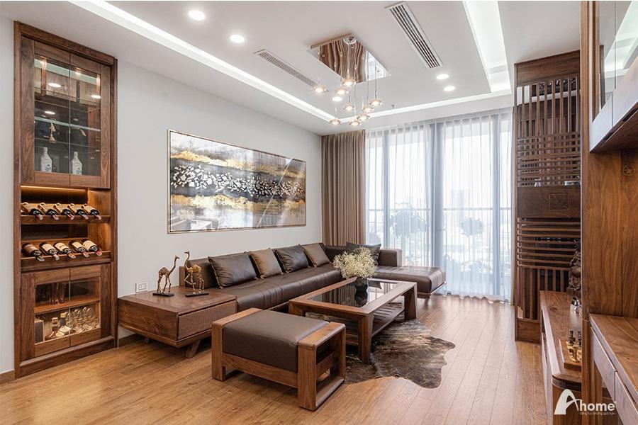 Sofa gỗ óc chó chữ L