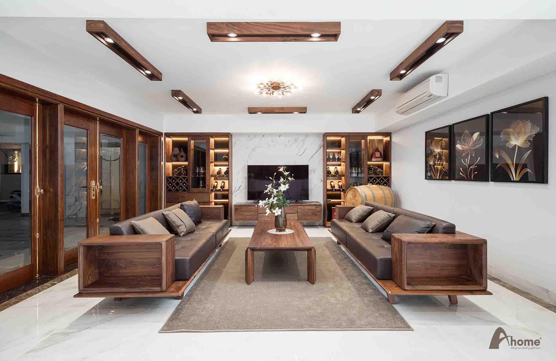 sofa làm từ gỗ óc chó cũng có ý nghĩa về mặt phong thuỷ