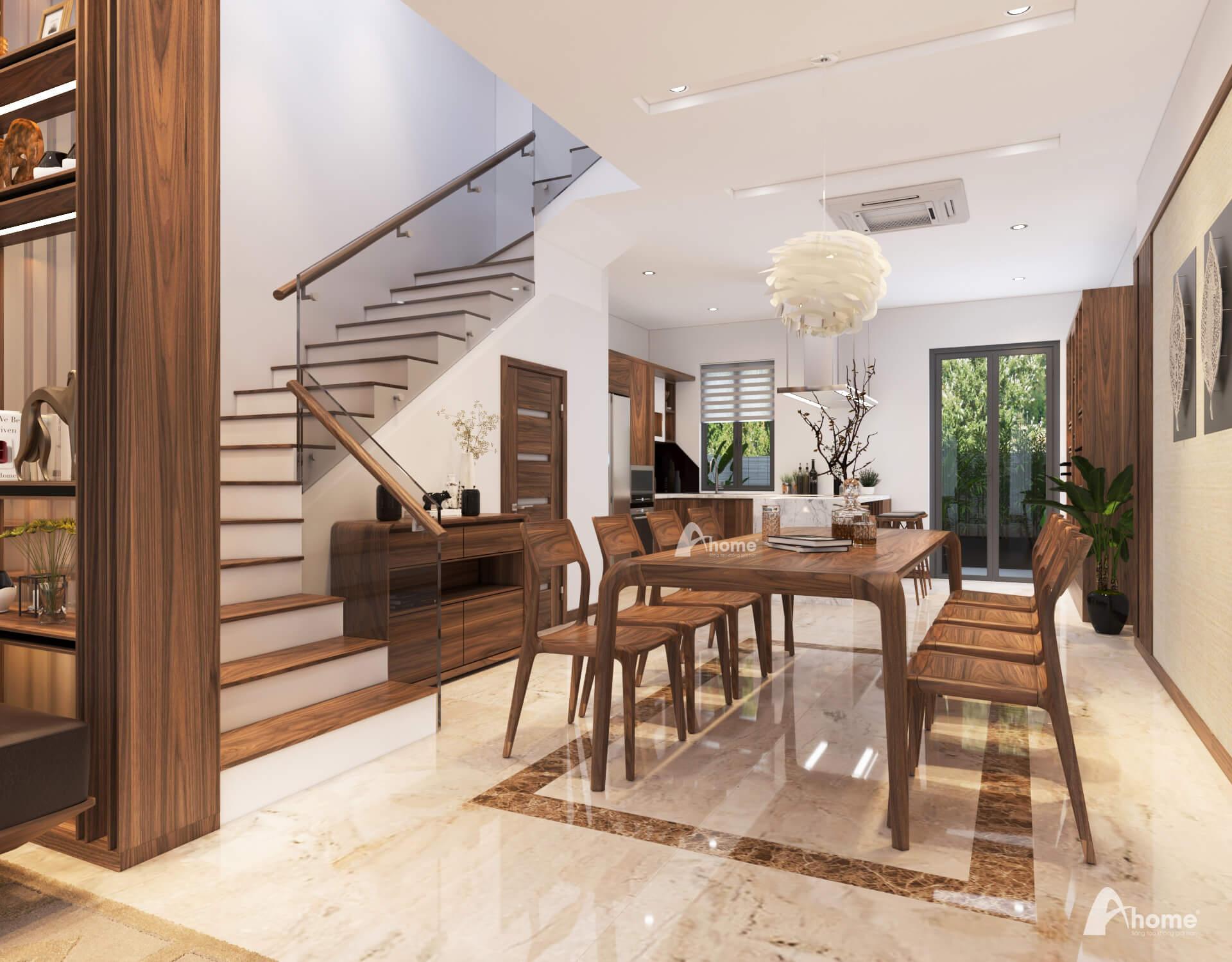 Bộ bàn ghế ăn gỗ óc chó hiện đại trong thiết kế nội thất biệt thự Gamuda